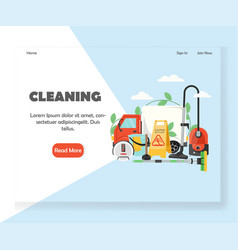 cleaning website landing page design vector image