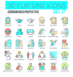coronavirus protective icons vector image