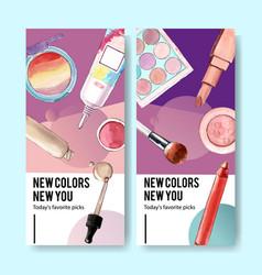Cosmetic flyer design with eyeshadow brush vector