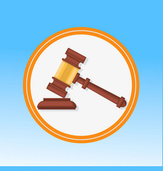 Courtroom gavel closeup flat vector