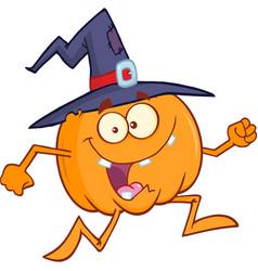 crazy witch pumpkin cartoon character running vector image