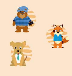 Cute animals cartoons vector