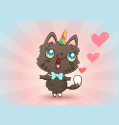 cute cat in kawaii style vector image