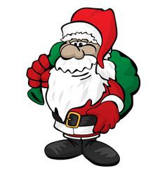Cute christmas santa claus with toy sack cartoon vector