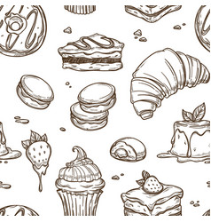 Delicious cakes and bakery products sketches in vector