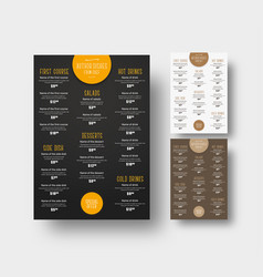 design menu for cafes and restaurants vector image