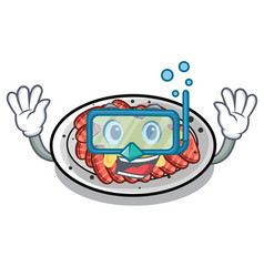 Diving carpaccio above wooden cartoon table vector