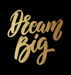 dream big lettering phrase on dark background vector image