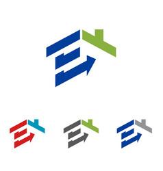 E - home house real estate housing abstract logo vector