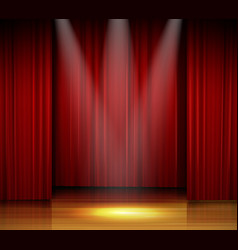 Empty stage with red curtain and spotlight on wood vector