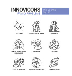 Family problems concept line design style icons vector
