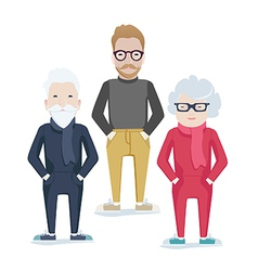 family with elderly parents and son vector image