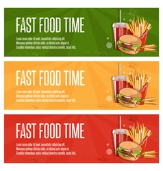 Fast food banners with burgerfried potatoes and vector