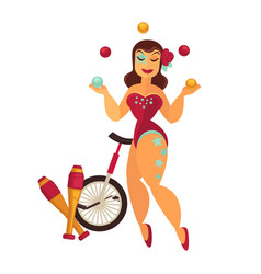 Female juggler in scenic suit with equipment for vector