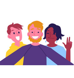 flat cheerful friend making selfie together vector image