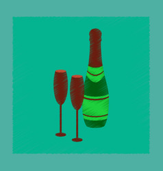 Flat shading style icon champagne bottle and vector