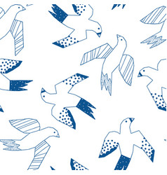 flying birds blue on white seamless pattern vector image
