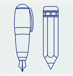 fountain pen and pencil outline icon vector image