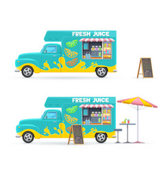 fresh juice food truck isolated retro van vector image