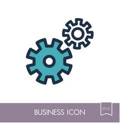 Gear outline icon teamwork sign vector