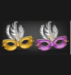 golden and purple mask with feathers vector image