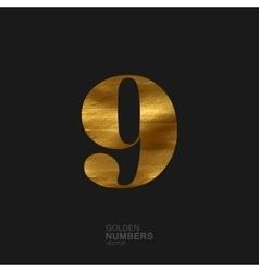 Golden number 9 vector image