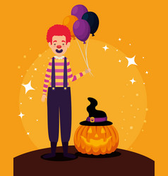 halloween card with pumpkin and clown character vector image