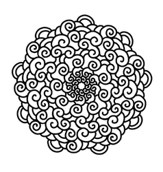 Hand drawn curl Mandala isolated on white vector image