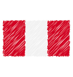 hand drawn national flag of peru isolated on a vector image