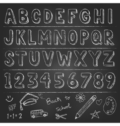 Hand drawn trendy letters alphabet back to school vector image