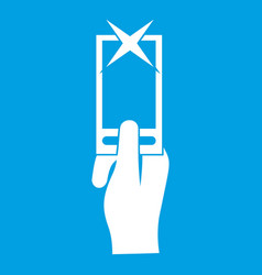 Hand photographs on smartphone icon white vector