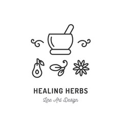 healing therapy line icons ayurvedic medicine vector image