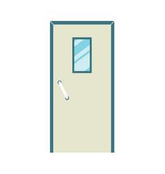 icon closed metal door with glass window flat vector image