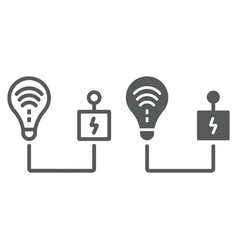Intelligent energy control line and glyph icon vector