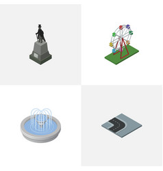 Isometric architecture set of park decoration vector