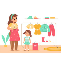 Kids clothing store girl with mother vector