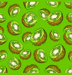 kiwi seamless pattern half kiwi green background vector image