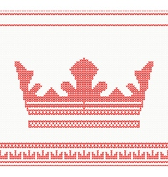 Knitted crown seamless pattern in red color vector