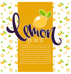 Lemon juice background for your label flyer or vector