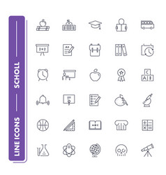 Line icons set school vector