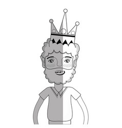Line nice man with beard style and crown vector