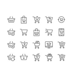 line shopping cart icons vector image