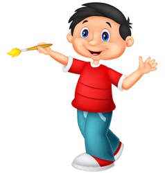 Little boy holding brush vector image