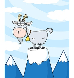 Longhorn On Top Of A Mountain Peak vector image
