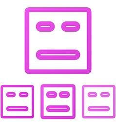 Magenta line face logo design set vector