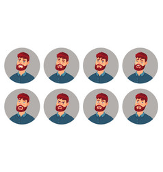male character facial emotions happy smiling man vector image