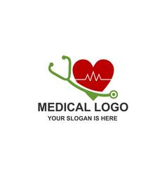 medical stethoscope heart pulse logo vector image