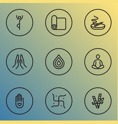 Meditation icons line style set with religion vector