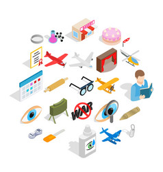 moving picture icons set isometric style vector image
