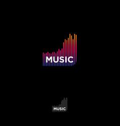 music logo recording studio emblem equalizer vector image